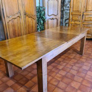 table merisier massif ouverte avec rallonge